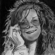 Janis Joplin Drawings - The Queen of Psychedelic Soul by Anne Thigpen