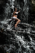 Model Release Prints - The Queen of Waterfalls. Eureka Waterfalls. Mauritius Print by Jenny Rainbow