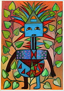 Tribal Art Paintings - The Question by Ephrem Kouakou
