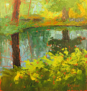 Beautiful Creek Painting Originals - The Quiet Depths of Nature by Kristos Raftopoulos