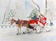 Horse And Buggy Painting Posters - The Quiet Ride Poster by Beth Saffer