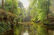 Naturalism Posters - The Quiet River Poster by Peder Monsted