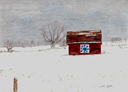 Winter Scenery Drawings Prints - The Quilt Print by Linda Ginn