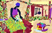 Woman Tapestries - Textiles Metal Prints - The Quilter Metal Print by Ruth Ash