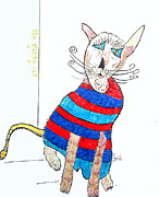 Featured Drawings - The Quirky Cats.pierre by Brian Buckley