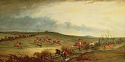 Fox Hunting Prints - The Quorn in full cry near Tiptoe Hill Print by John E Ferneley