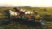 Hay Wagon Prints - The Race Print by A Wierusz Kowalski
