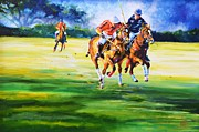 Sporting Art Originals - The Race For The Goal by Sally Buffington