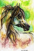 Rainbow Drawings Prints - The Rainbow Colored Arabian Horse Print by Angel  Tarantella