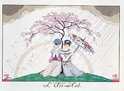 Cousins Framed Prints - The Rainbow Framed Print by Georges Barbier