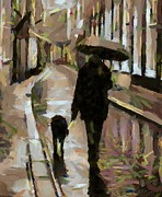 Dog Framed Prints - The rainy walk Framed Print by Dragica  Micki Fortuna