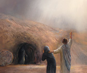Christ Pastels Prints - The Raising of Lazarus Print by James R C Martin