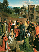 Lazarus Framed Prints - The Raising of Lazarus with a couple Praying Framed Print by Geertgen Tot Sint Jans
