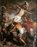 Religious Jesus On Cross Posters - The Raising of the cross Poster by Anthony Van Dyke