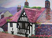 England Pastels Framed Prints - The Ram Inn - Most Haunted House in England Framed Print by Marion Derrett