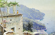 Sea View Framed Prints - The Ravello Coastline Framed Print by Peder Monsted