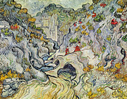 Figures Painting Posters - The ravine of the Peyroulets Poster by Vincent van Gogh