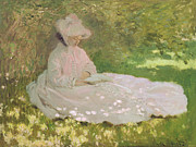 Pink Dress Posters - The Reader  Poster by Claude Monet