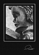 Reading Faces Framed Prints - THE READER - Stoneworks - SIGNATURE GREETING CARD Framed Print by Andrew Wells