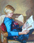 Portrait Painting Originals - The Reader by Tomas OMaoldomhnaigh