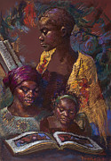 African American Pastels Framed Prints - The Readers Framed Print by Ellen Dreibelbis