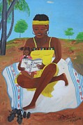 Haitian Paintings - The Reading Lesson by Nicole Jean-Louis