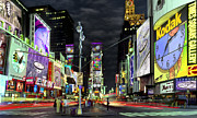 Time Digital Art Framed Prints - The Real Time Square Framed Print by Mike McGlothlen