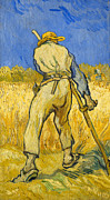 Worker Painting Metal Prints - The Reaper Metal Print by Vincent van Gogh