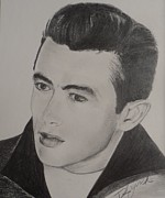 James Dean Drawings Posters - The Rebel Poster by Debbie Lynch