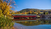 Taftsville Metal Prints - The rebuilt Taftsville Covered Bridge Metal Print by New England Photography