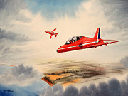 Team Paintings - The Red Arrows - BAe Hawk T1A by Bill Holkham