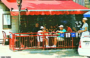 Montreal Restaurants Paintings - The Red Awning Cafe On St. Denis - A Shady Spot To Enjoy A Cold Beer On A Very Hot Sunday In July by Carole Spandau