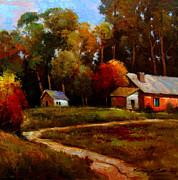 In Earth Tones Paintings - The Red Barn - bright colored landscape print by Kanayo Ede
