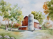 Silos Painting Posters - The Red Barn Poster by Bobbi Price