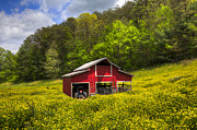 Tennessee Barn Posters - The Red Barn Poster by Debra and Dave Vanderlaan