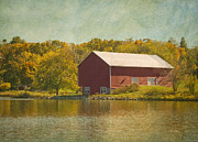 Foilage Posters - The Red Barn Poster by Kim Hojnacki