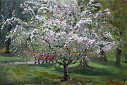 Trees Blossom Paintings - The Red Bench by Ylli Haruni