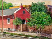 Old Houses Painting Prints - The Red Bicycle Print by Edward Farber