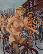 Cyclists Paintings - The red bike by Peregrine Roskilly