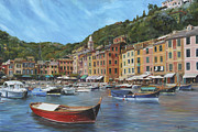 Portofino Cafe Painting Prints - The Red Boat Print by Emily Olson