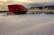 Winter Photos Posters - The Red Boat Poster by Jakub Sisak