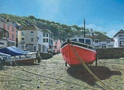 Landscape Greeting Card Painting Originals - The Red Boat Polperro Corwall by Richard Harpum