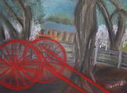 Buggy Pastels Framed Prints - The Red Buggy Framed Print by Gitta Brewster