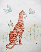 Moggy Posters - The Red Cat Poster by Gillian Short