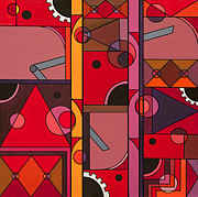 Cubism Prints - The Red Clock Print by Christopher Page