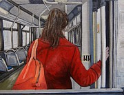Montreal Paintings - The Red Coat by Reb Frost