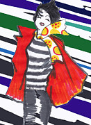 Apparel Mixed Media Prints - The red coat Print by Zbigniew Rusin