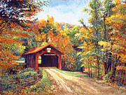Roads Paintings - The Red Covered Bridge by David Lloyd Glover