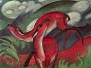 Wild Animals Paintings - The Red Deer by Franz Marc