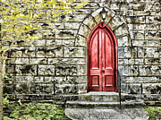 Brick Building Prints - The Red Door Print by Darren Fisher